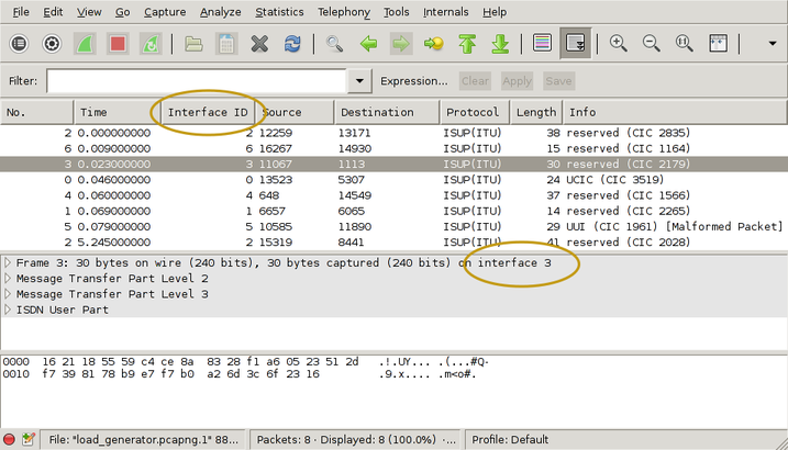 screen capture of the wireshark main application window