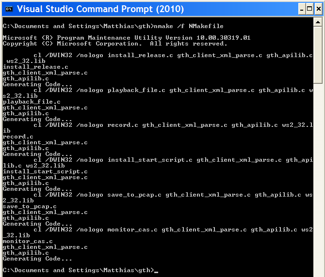screenshot of a VC compile